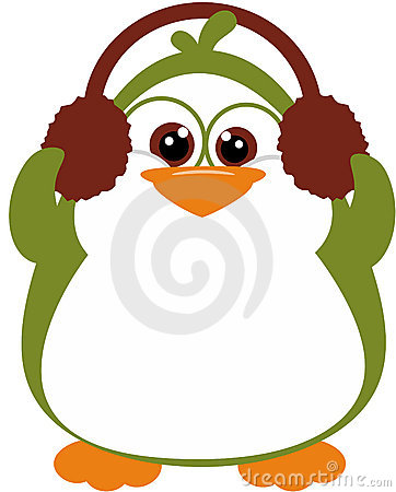 Perky Penguin with earmuffs