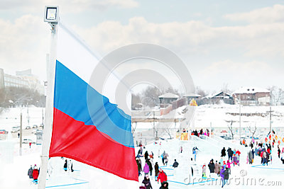 PERM, RUSSIA - JAN 6, 2014: Russian flag in Ice town, created in Editorial Stock Photo