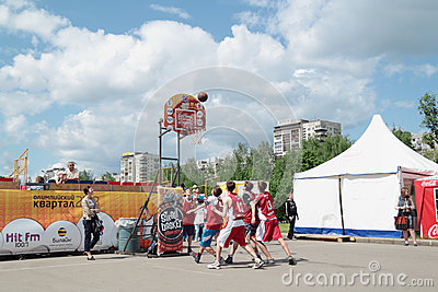 PERM, RUSSIA - JUN 13, 2013: Young people play at Youth Basketba
