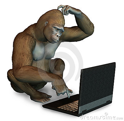 Perplexed Gorilla with a Laptop