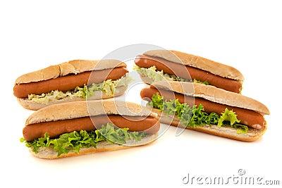 Perritos calientes con los rollos de pan