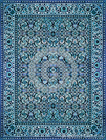 Free Persian Carpet Texture, Abstract Ornament. Round Mandala Pattern, Middle Eastern Traditional Carpet Fabric Texture. Turquoise Milk Stock Photo - 83625420