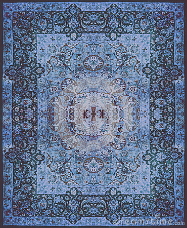 Free Persian Carpet Texture, Abstract Ornament. Round Mandala Pattern, Middle Eastern Traditional Carpet Fabric Texture. Turquoise Milk Stock Photos - 85072633