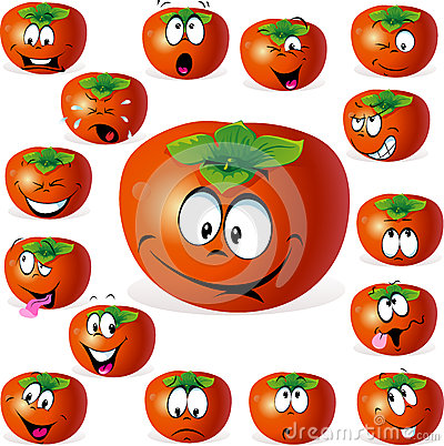 Persimmon fruit cartoon with many expressions