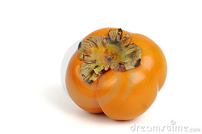 Persimmon fruit over white