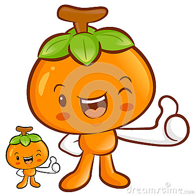 Persimmon Mascot the Right hand best gesture. Fruit Character De
