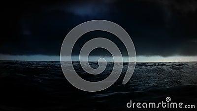 Perso nel mare al metraggio di notte stock footage
