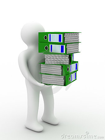 Person with accounting folders.