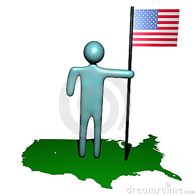 Person with American flag on map