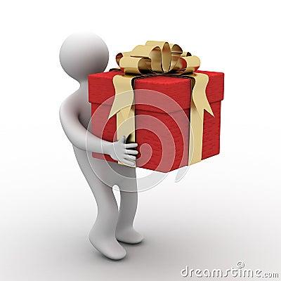 Person bearing a gift box.