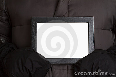 Person with blank sign