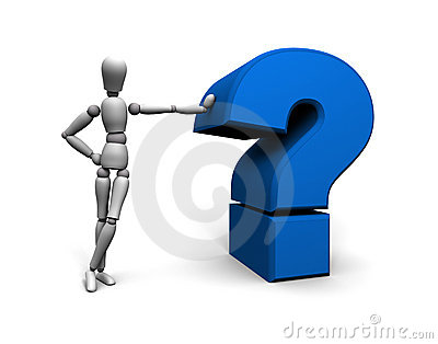 Person and Blue Question Mark