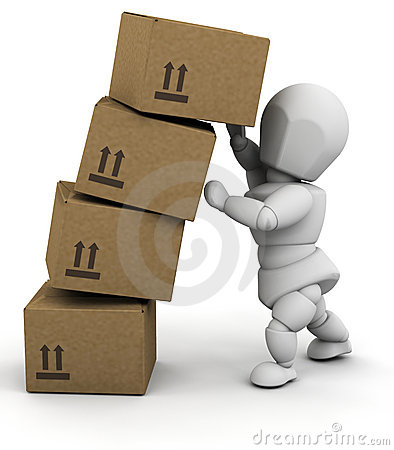 Person with boxes