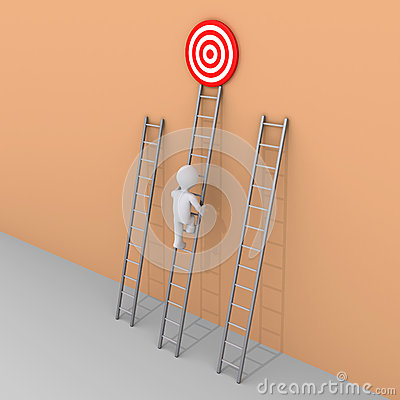 Person is choosing to climb the right ladder