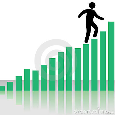 Person Climbs Profit Chart Graph Stairs