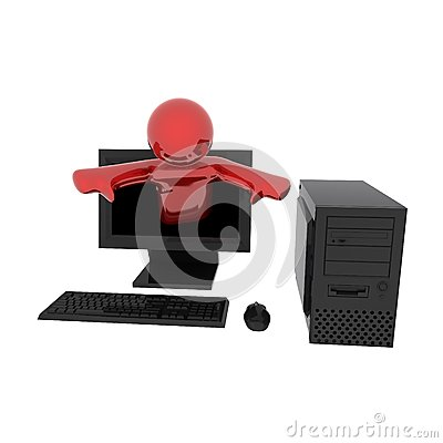 Person in computer