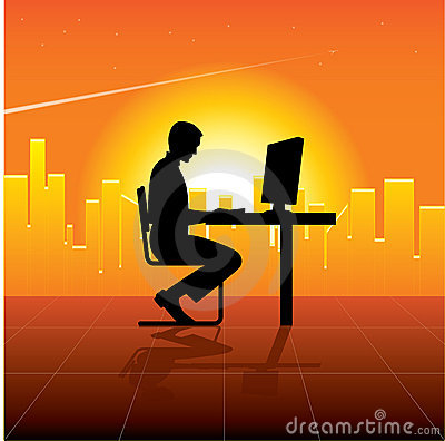 Person with computer in city