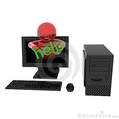 Person in computer with text