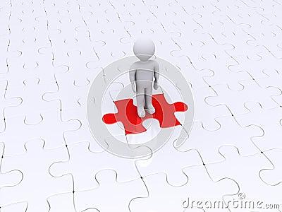 Person, die auf unterschiedlichem Puzzlespielstück steht