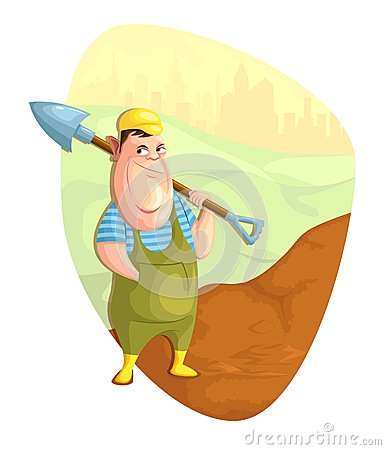 Digger cartoons digger pictures illustrations and vector for Digging ground dream meaning