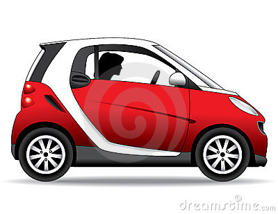 Person driving small red car