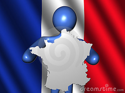 Person with France map on flag
