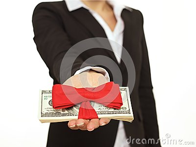 Person Giving a Generous Bonus