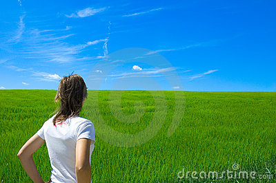 Person In Green Field 1 Royalty Free Stock Photography - Image: 244377