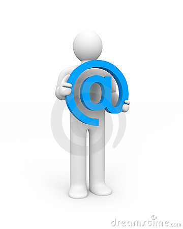 Person hold email sign
