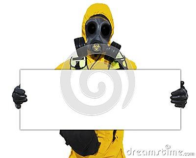 Person holding bio hazard sign
