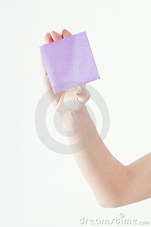 Person holding blank paper