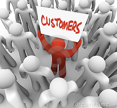Free Person Holding Customers Sign In Crowd Royalty Free Stock Image - 19170476