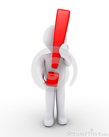 Person holding exclamation mark