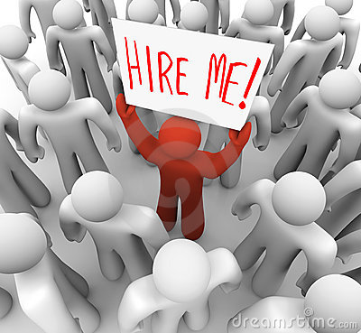 Free Person Holding Hire Me Sign In Crowd Royalty Free Stock Photography - 12182637