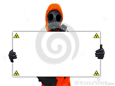 Person holding nuclear hazard sign