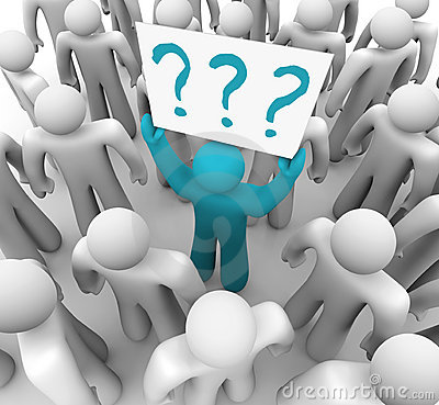 Free Person Holding Question Mark Sign In Crowd Stock Images - 12707104