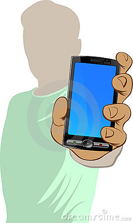 Person holds cell phone