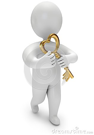 Person holds the golden key