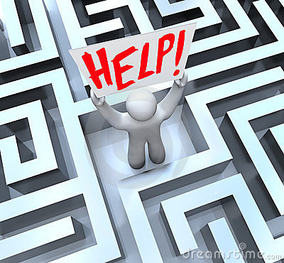 Free Person In Labyrinth Maze Holding Help Sign Royalty Free Stock Photo - 23724075