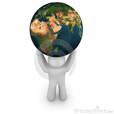 Person Lifting the World - Asia