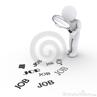 Person with magnifier looking for job