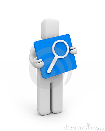 Person and magnify glass icon