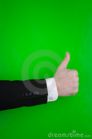 Person making thumbs up sign