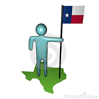 Person on map with Texan Flag