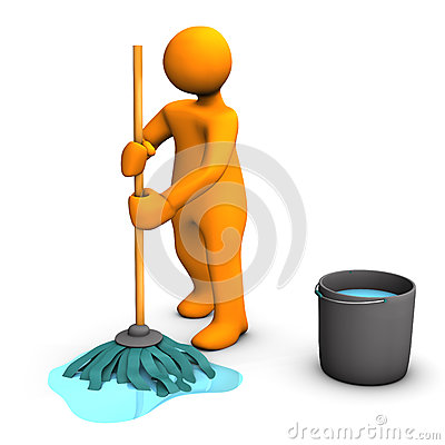 Person mopping floor