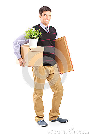 Person with moving box and other stuff
