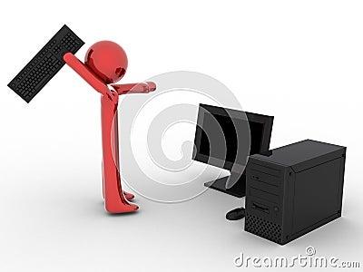 Person near computer