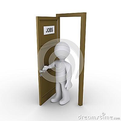 Person opening door to find job