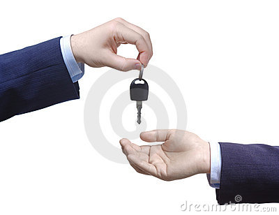 Person passing car keys