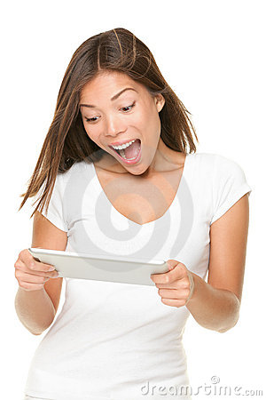 Person playing tablet computer game